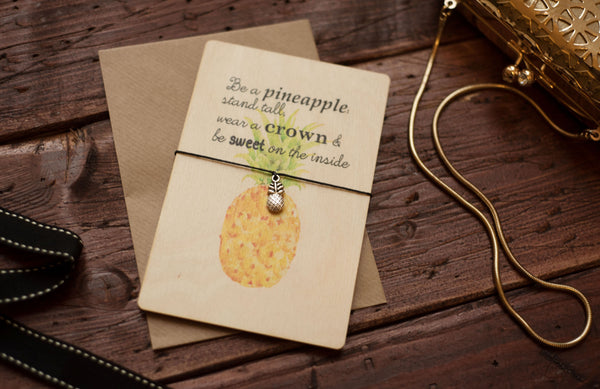 Printed Wooden Wish Bracelet Pineapple DD168