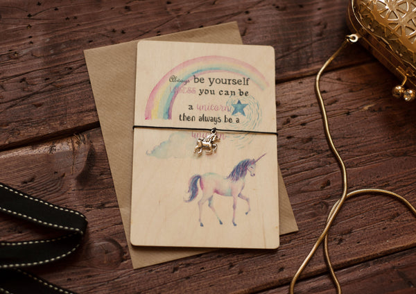 Printed Wooden Wish Bracelet Be a Unicorn DD168