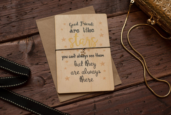 Printed Wooden Wish Bracelet Good Friends are Like Stars DD170