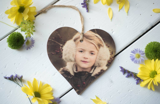 Printed Wooden Photo Heart DD275