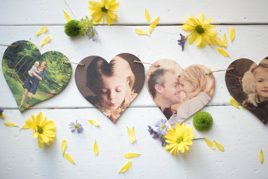 Printed Wooden Photo Heart Bunting DD276