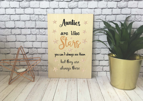 Wooden Print - Aunties Are Like Stars - DD539