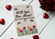 Printed Wooden Wish Bracelet - Will You Bee Mine? - DD264