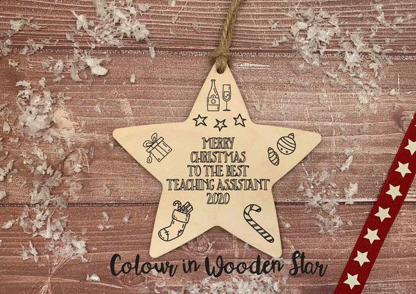 Wooden Colour In Doodle Hanging Star or magnet - Merry Xmas to the best Teaching Assistant DD2030