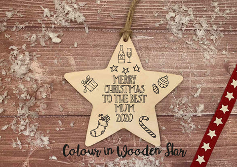 Wooden Colour In Doodle Hanging Star or magnet - Merry Xmas to the best Mum DD2010