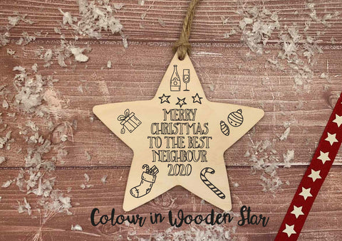 Wooden Colour In Doodle Hanging Star or magnet - Merry Xmas to the best Neighbour DD2018