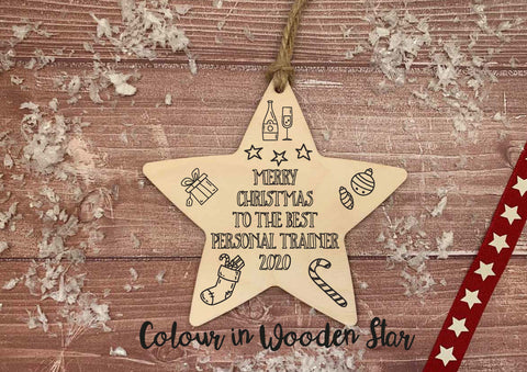 Wooden Colour In Doodle Hanging Star or magnet - Merry Xmas to the best Personal Trainer DD2023