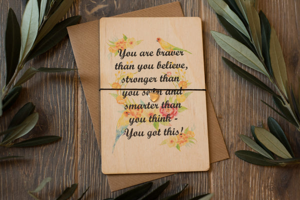 Printed Wooden Wish Bracelet - You Got This! - DD173