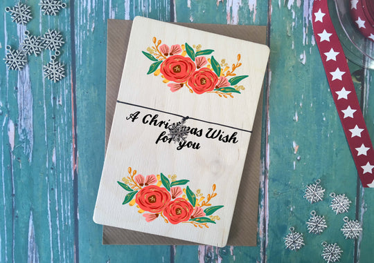 Printed Wooden Wish Bracelet Christmas Floral A Christmas Wish For You DD185