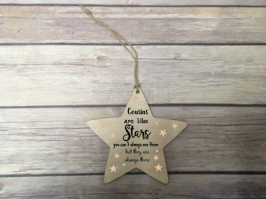 Wooden Hanging Star - Cousins Are Like Stars DD331