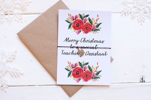 Christmas Floral Teaching Assistant A6 Postcard DD138