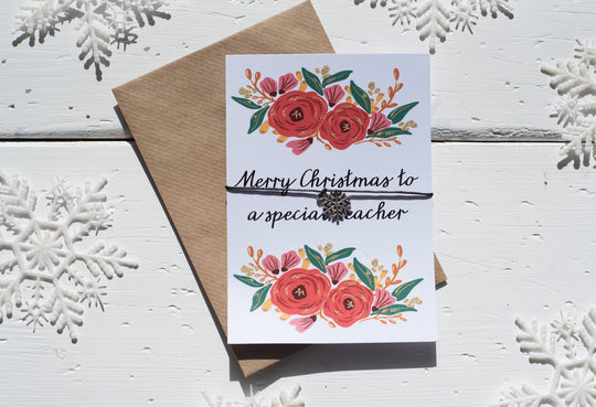 Christmas Floral Teacher A6 Postcard DD139