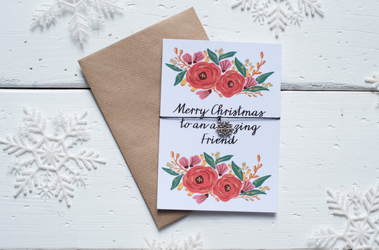 Christmas Floral Friend A6 Postcard DD141