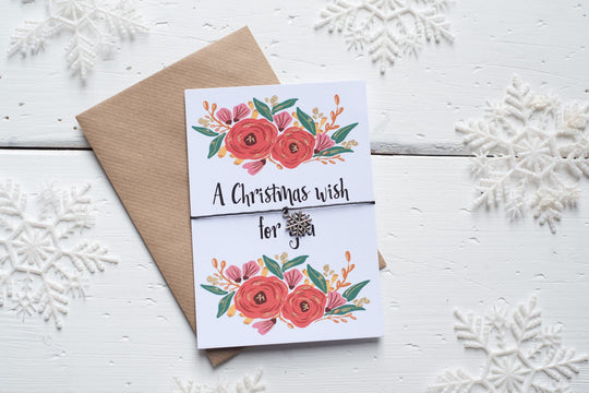 Christmas Floral Wish for You A6 Postcard DD142