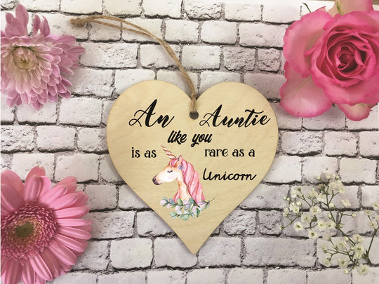 Wooden Hanging Heart - Auntie Rare As A Unicorn DD353