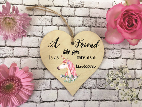 Wooden Hanging Heart - Friend Rare As A Unicorn DD370