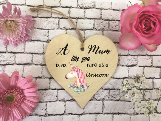 Wooden Hanging Heart - Mum Rare As A Unicorn DD372