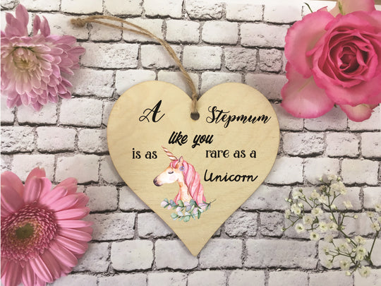 Wooden Hanging Heart - Stepmum Rare As A Unicorn DD378