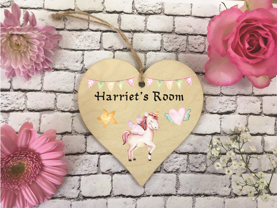 Wooden Hanging Heart - Personalised Door Sign Unicorn DD383