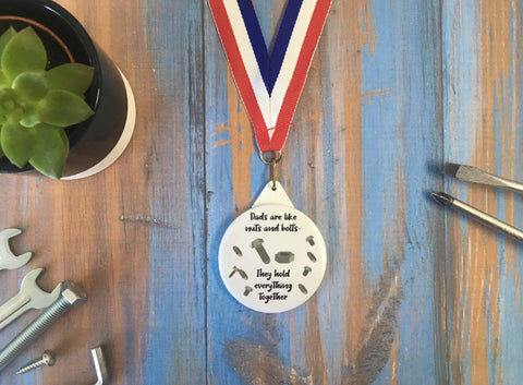 Dads Are Like Nuts & Bolts Medal - DD635