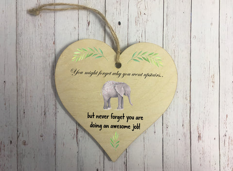 Wooden Hanging Heart - Elephant Upstairs DD298