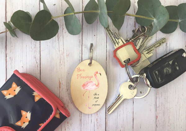 Wooden Keyring - Flamingo DD228