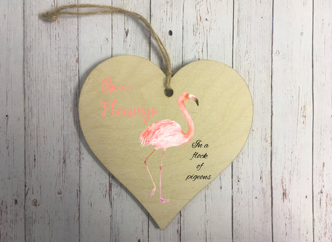 Wooden Hanging Heart - Flamingo DD240