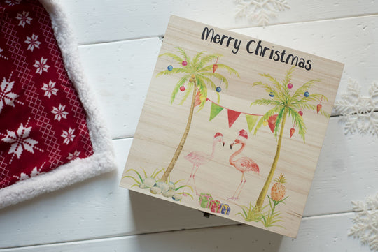 Personalised Printed Xmas Eve Box - Flamingo DD155