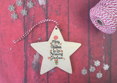 Hanging Star - Merry Christmas to an Amazing Godson DD424