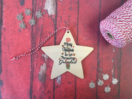 Hanging Star - Merry Christmas to an Amazing Grandad DD237