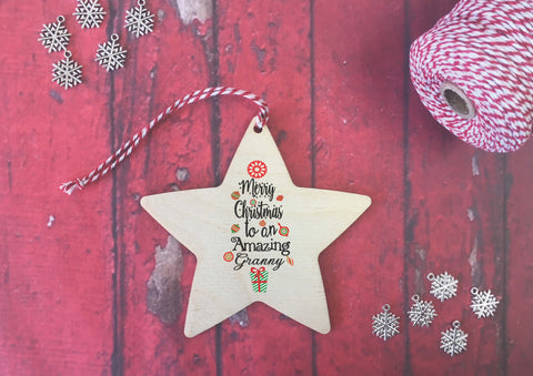 Hanging Star - Merry Christmas to an Amazing Granny DD479