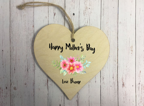 Wooden Hanging Heart - Happy Mothers Day Love Bump Floral  DD304