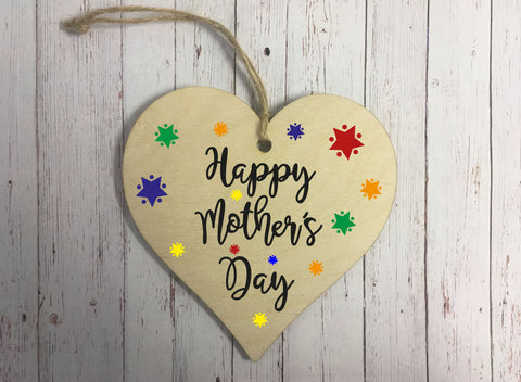 Wooden Hanging Heart - Happy Mothers Day Stars  DD306