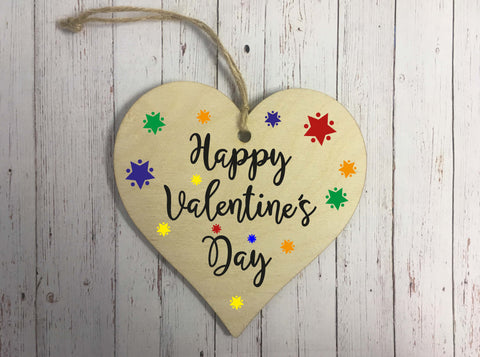 Wooden Hanging Heart - Happy Valentines Day Stars  DD307