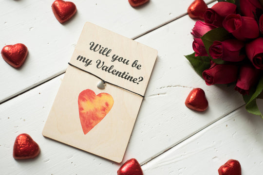 Printed Wooden Wish Bracelet - Will You Be My Valentine - DD263