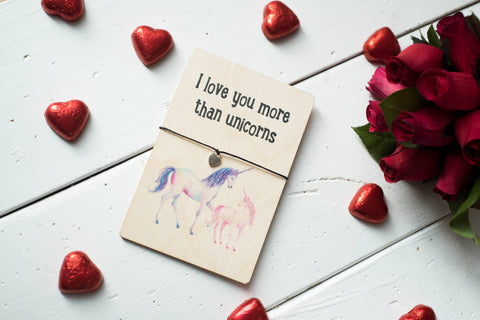 Printed Wooden Wish Bracelet - Love You More Than Unicorns - DD404
