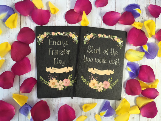 Printed Wooden IVF Journey Cards Chalkboard Floral ® DD408