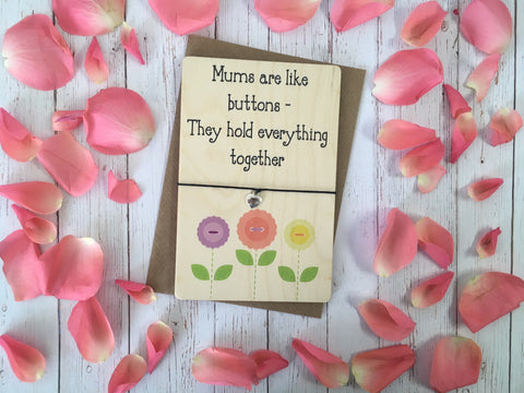 Printed Wooden Wish Bracelet - Mums Are Like Buttons - DD273