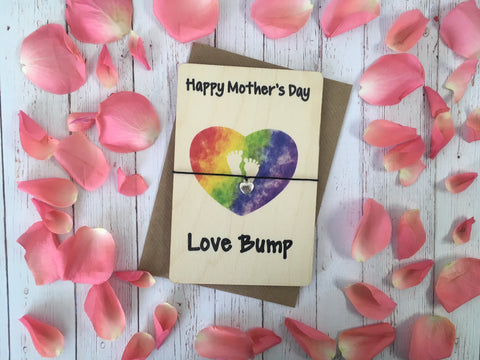Printed Wooden Wish Bracelet - Happy Mothers Day Love Bump  - DD270
