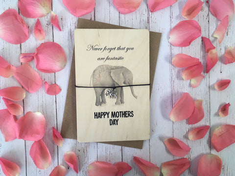 Printed Wooden Wish Bracelet - Happy Mothers Day Elephant - DD267