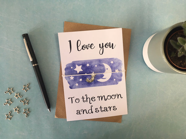 A6 Postcard Print with Wish Bracelet, Badge, Magnet or Keyring - Moon & Stars - DD412