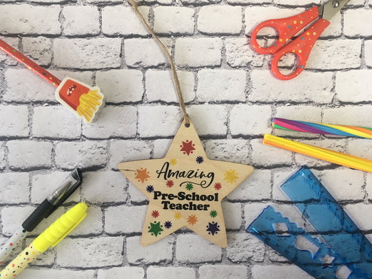 Wooden Hanging Star - Bright Stars Amazing Pre-School  Teacher DD450