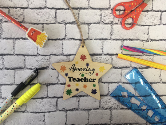 Wooden Hanging Star - Bright Stars Amazing Teacher DD453