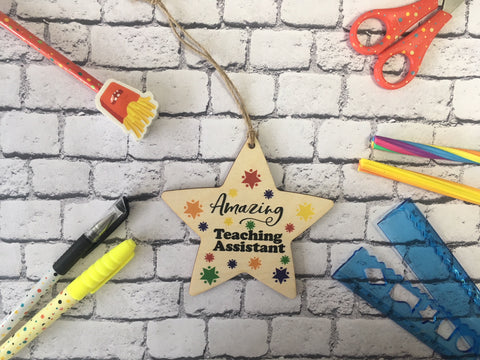 Wooden Hanging Star - Bright Stars Amazing Teaching Assistant DD454