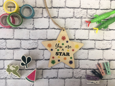 Wooden Hanging Star - Bright You Are a Star DD459