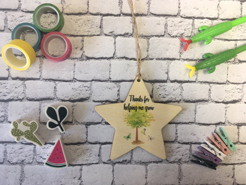 Wooden Hanging Star - Thanks For Helping Me Grow DD218