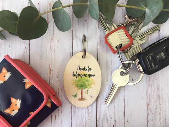 Wooden Keyring - Thanks For Helping Me Grow DD221
