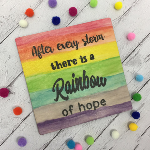 Wooden Square Plaque - Rainbow of Hope DD1262