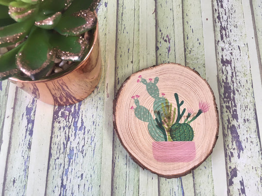 Cactus Succulent Printed Natural Log Slice - Pink Pot - Choice of Sizes - DD575
