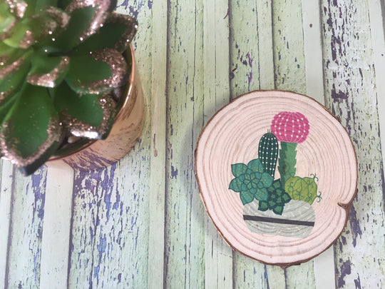 Cactus Succulent Printed Natural Log Slice - Blue Pot - Choice of Sizes - DD576